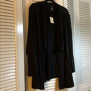 NWT- black, cotton, drapy open cardigan